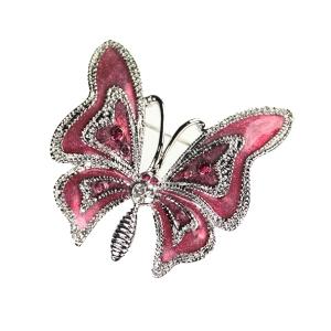 pink enamel butterfly brooch