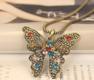 vintage multi color rhinestone butterfly pendant long chain necklace wholesale 1