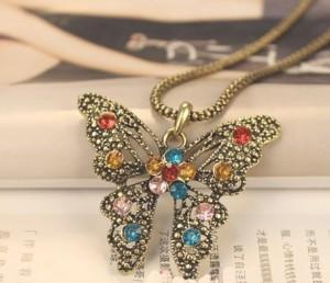vintage multi color rhinestone butterfly pendant long chain necklace wholesale 1