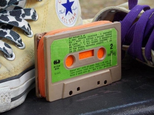 Use your favorite, old cassette tape as a coin purse.